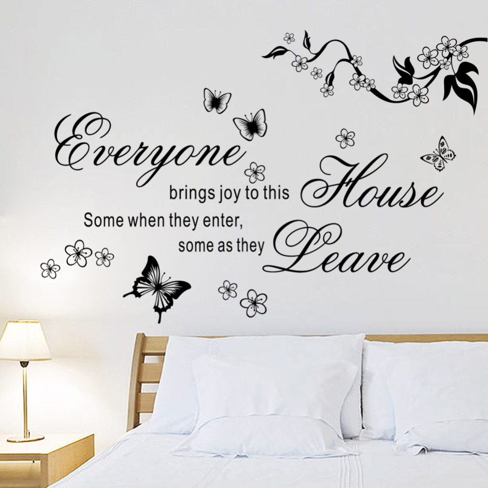 ... Bring Joys To This House Vinyl Wall Stickers Flower Quotes 8448  Butterfly Home Decor Mural Wall ... Part 56