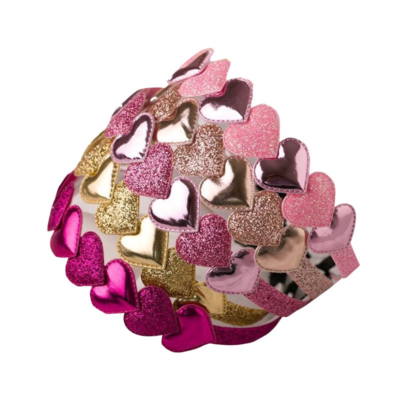 AKWZMLY 1PC Fashion Hair Band Kids Sequin Shiny Heart Headband BB Party Hair Accessories For Girl Solid PU Handmade 1CM Hairband