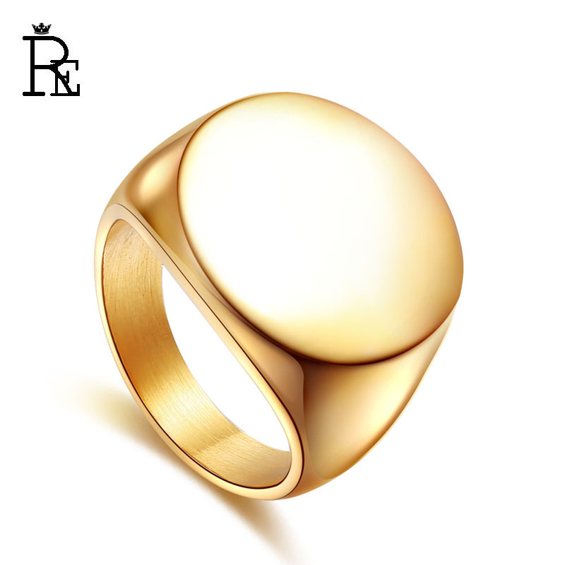 Aliexpress Re New Fashion Ring For Men Women Anium 316l Stainless Steel Round Blank Plain Jewelry Blue Gold Silver Black Color From