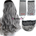 "Cosplay hairpieces  24"" One Piece Straight grandma gray Clip In Hair Extensions Synthetic False Hair Hairpiece  For Women Girls"