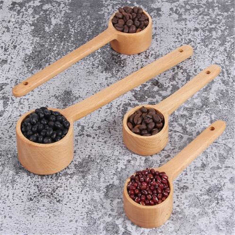 3 Sizes Long Handle Wooden Measuring Spoon Wooden Coffee Spoon Kitchen Soup Spoon Home Kitchen Measuring Tools