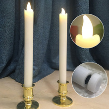 4/pcs Warm White LED Flameless Wax Covered Taper Candles, Red Paraffin Wax Led Candles