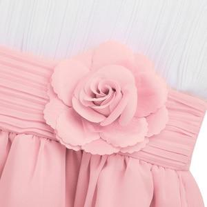 Image 4 - Robes à fleurs, robes Tutu, en mousseline de soie, sans manches, robes de concours pour filles, fête de première Communion, été, 2020