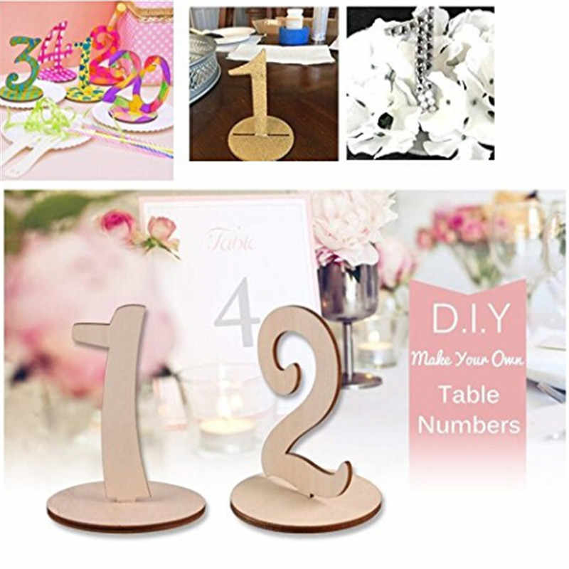 10pcs/pack Number 1-10 Place Holder Digital Seat Decoration Table Number Figure Card Wooden Wedding Party Supplies