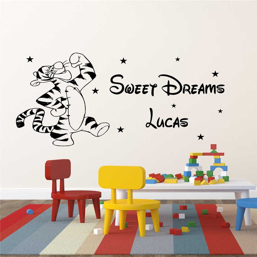 Winnie the Pooh Nursery Wall Stickers Tigger Baby Bedroom Decals  Pesonalised Name Wall Sticker Removable Wall Vinyl Sticker D181