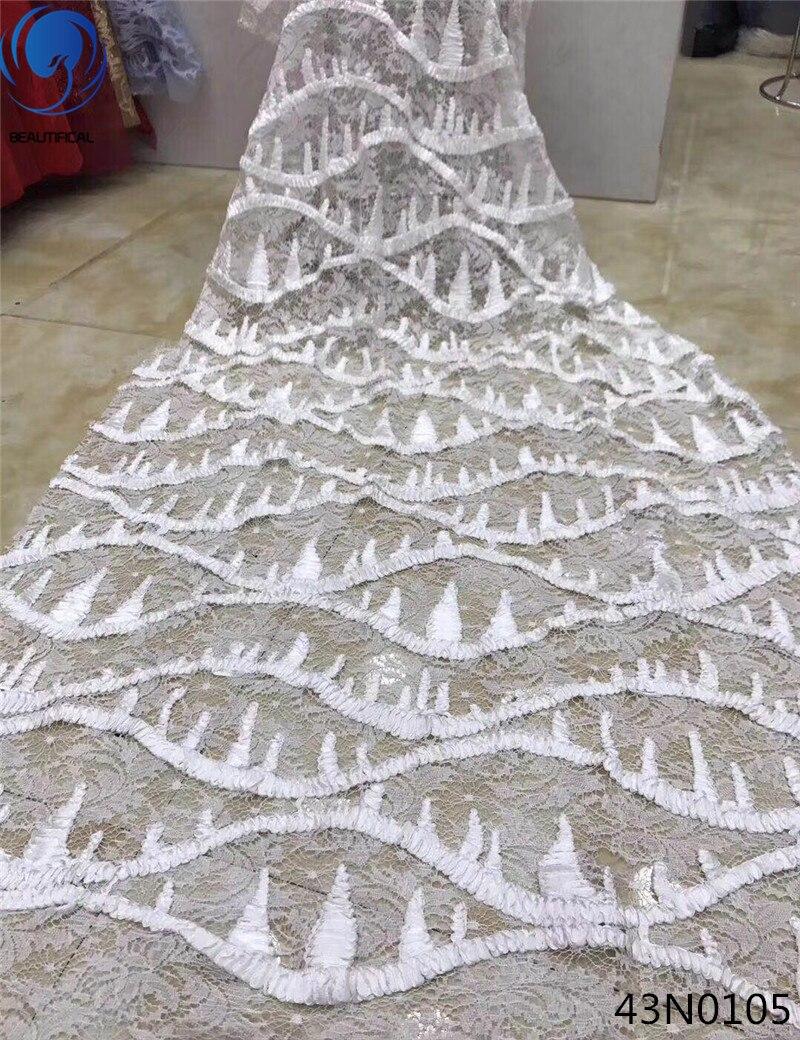 Belle broderie dentelle tissu africain dentelle tissu 2018 haute qualité dentelle nigériane dentelle tissus blanc 5 yards par pièce 43N01