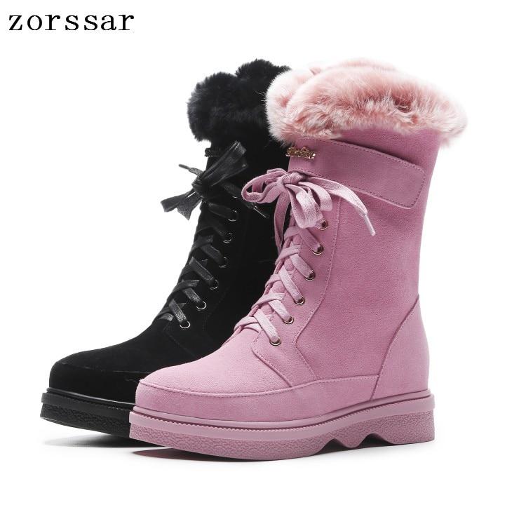 Zorssar Winter Women Snow Boots Winter Women Keep warm Shoes Autumn Female Mid-Calf Platform Boots 2018 Woman Shoes цена