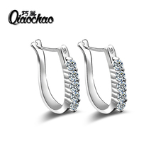 Vintage Women Round Earrings Cubic Zirconia Silver Plated Earing White Stone Crystal Luxury Circle Hoop Earring Jewelry E373