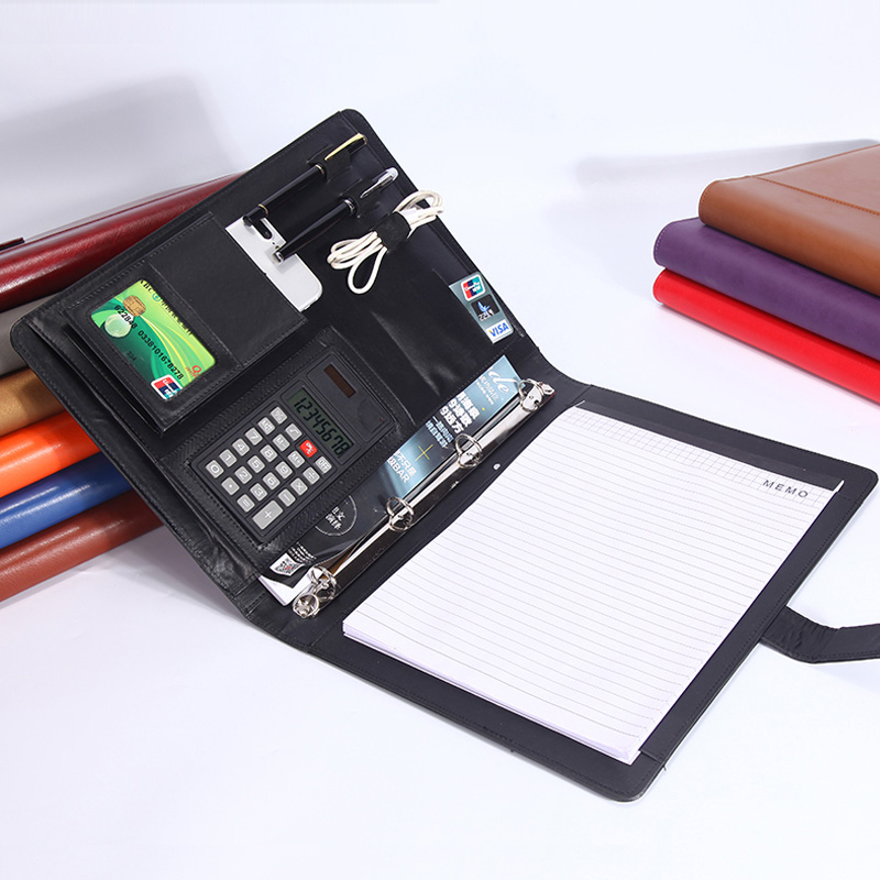 Business Office A4 Faux Leather File Folder For Documents Folders For Papers Padfolio With 4-hole Ring Binder Calculator 1210A