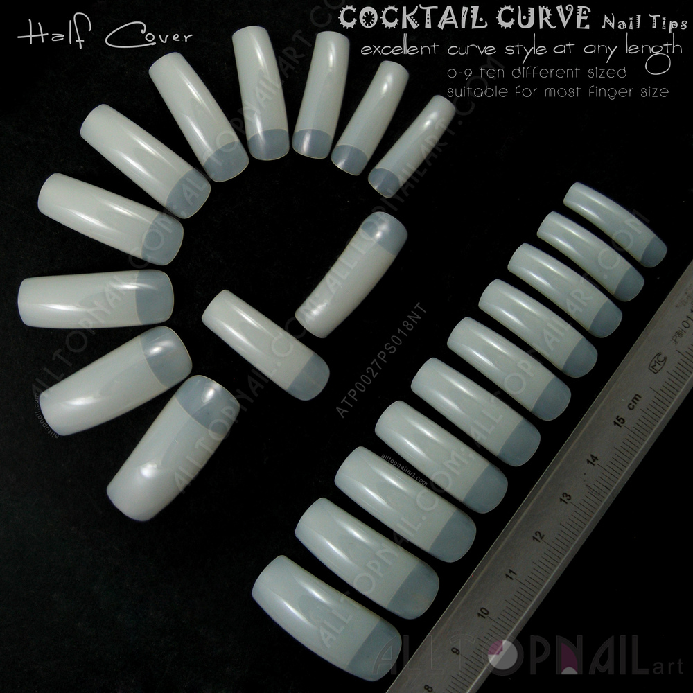 Half Well Nail Tips: French Tapered Deep C Curve Nail Tips 100x Natural Ivory