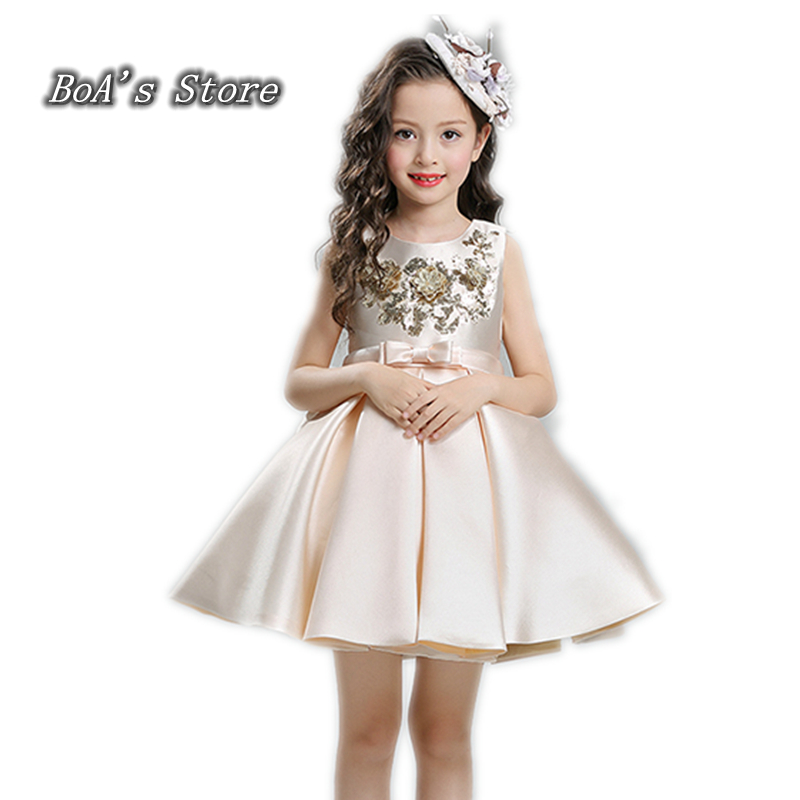 Top 2017 Girls Lace Flower Princess Dress Baby Clothes Bow Frocks Designer Kids Party Prom Dresses Girl Wedding Ball Gowns floral flower printed ball gowns with belt 2016 summer o neck short sleeve princess dress for party frocks evening prom dress