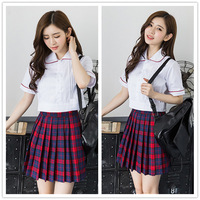 New College Style Japanese Girls School Uniform Short Sleeve Red Color Skirt Student Uniform Sailor School Uniforms D 0208