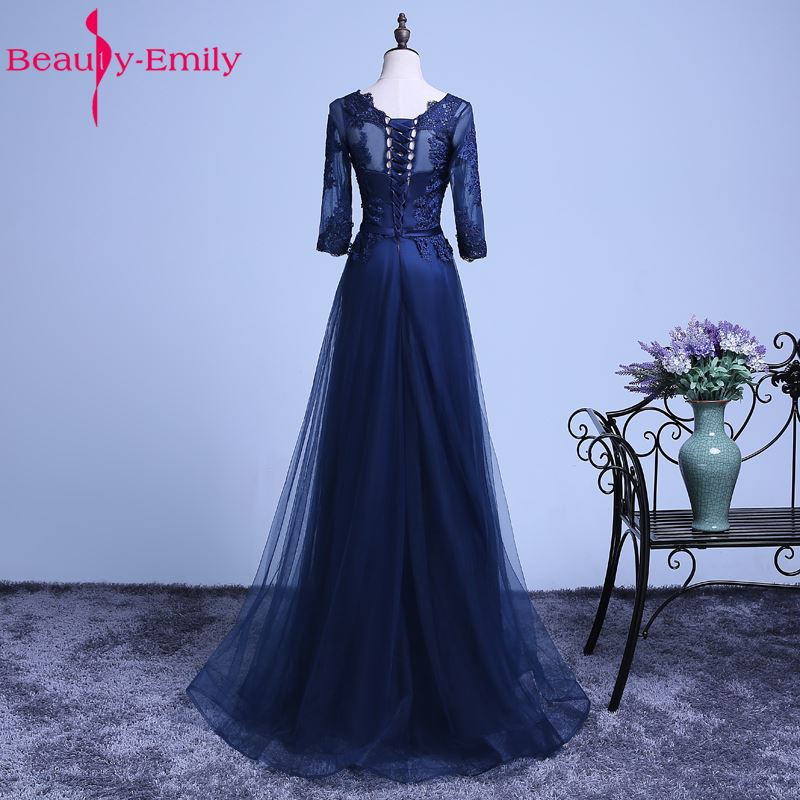 Beauty Emily Mother of the Bride Dresses 2019 A Line Floor Length Lace Half Mother Dresses Wedding Party Women Prom Dresses in Mother of the Bride Dresses from Weddings Events