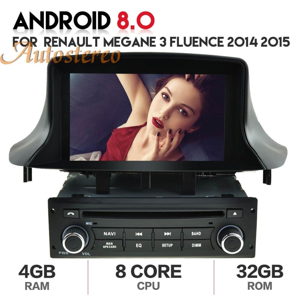 Autostereo Android8 voiture radio Voiture DVD CD Lecteur Pour Renault Megane 3 Fluence 2014 2015 GPS navigation headunit magnétophone 4 gb