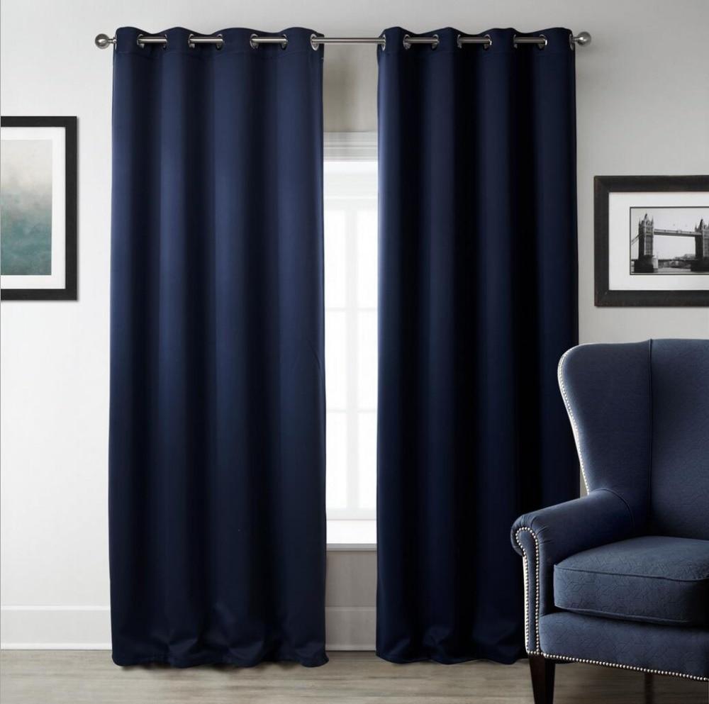Sunnyrain 1 Piece Navy Blue Solid Color Blackout Curtain