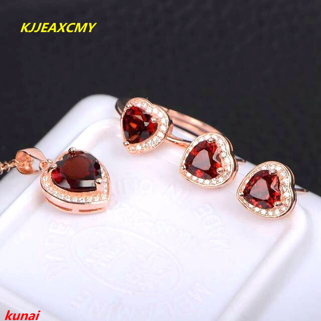 KJJEAXCMY boutique jewels 925 silver inlaid natural garnet pendant ring earrings with three sets of necklaces. pair of stylish women s rhinestone inlaid openwork floral pendant earrings