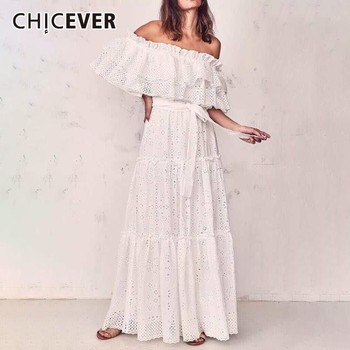 CHICEVER Summer Elegant White Dress For Women Slash Neck Patchwork Ruffles Short Sleeve High Waist Hollow Out Floor Dresses 2020