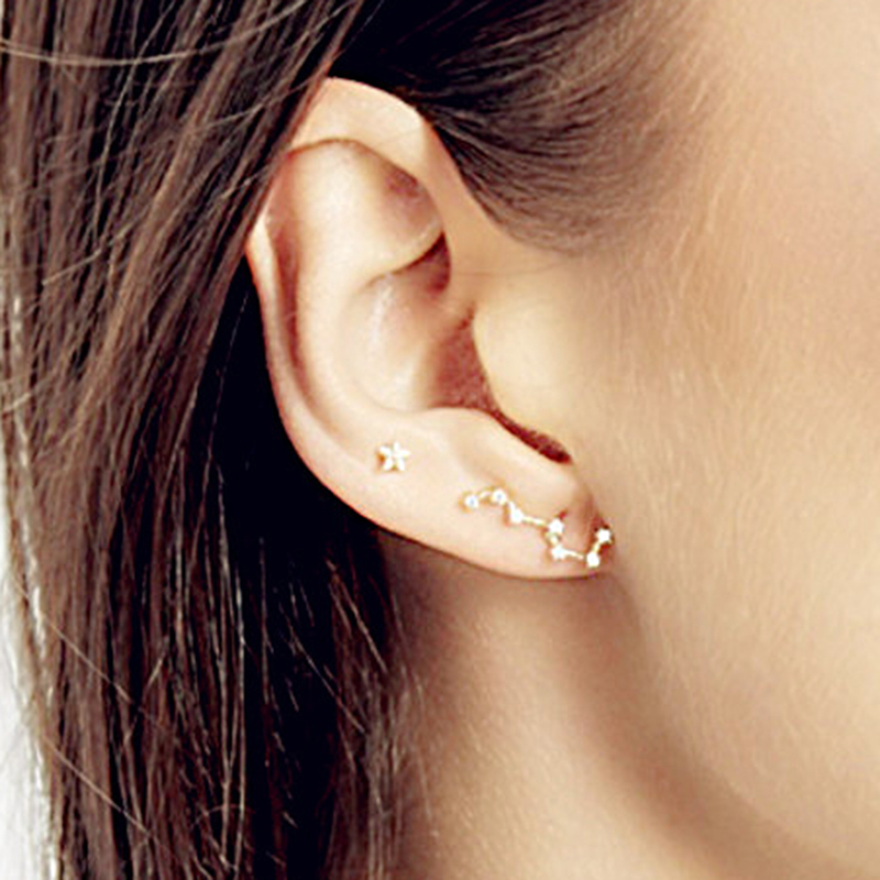 Fashion 925 Sterling Silver Constellation Stud Earrings Set Sparkly Zirconia Real Silver ...