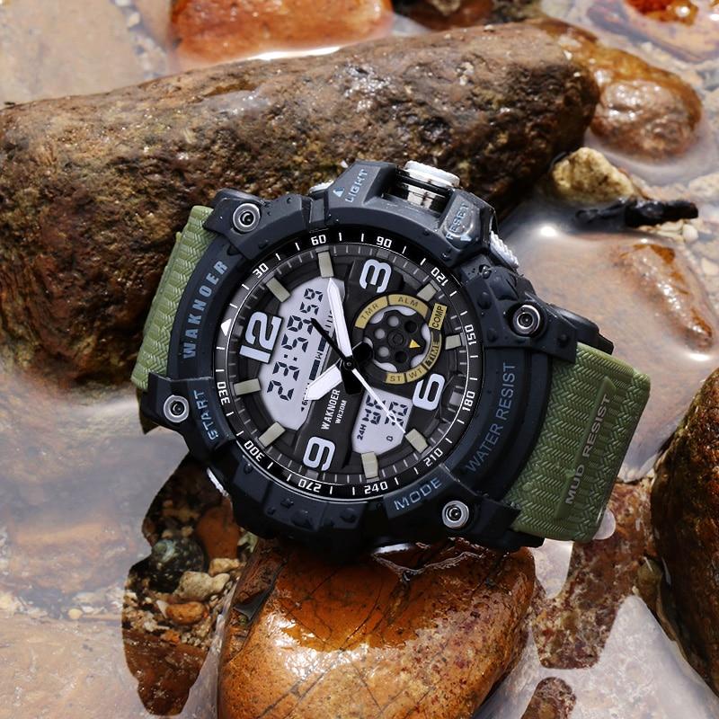 WAKNOER двойной Дисплей Для мужчин смотреть Для мужчин часы Водонепроницаемый военные спортивные часы силиконовый ремешок светодиодный цифро...