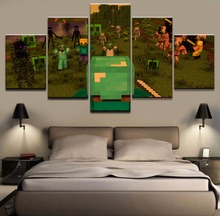 Monster War Zone Minecraft HD Print Canvas Printed Game Modern Home 5 Pieces Poster Painting Wall Art Living Room