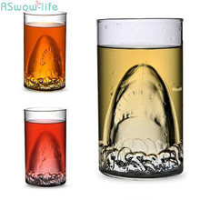 купить Personality Creative Cup Red Wine Glass Beer Mug/Bar Cup Transparent Double Glass Water Cup Big Shark Cup дешево