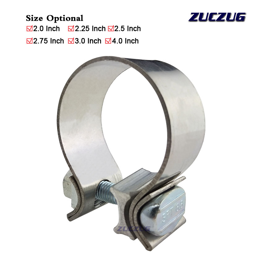 zuczug 2 25 high strength butt joint universal stainless steel exhaust clamp band kit 2 25 inch auto turbo pipe clips