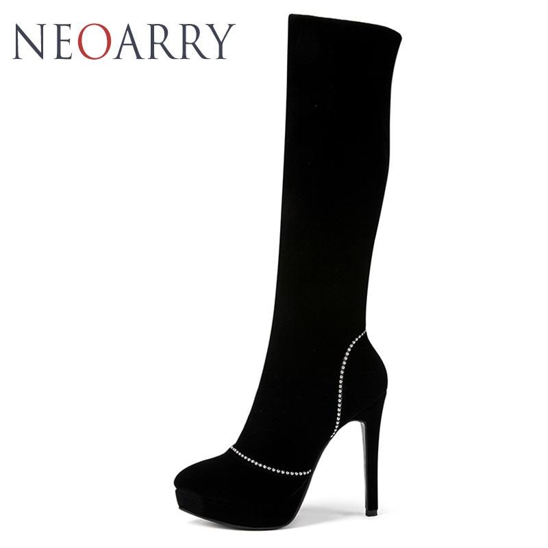 2baf358e Neoarry marca zapatos mujer Botas femeninas alto tacones de aguja negro  sólido que rebordea partido zapatos mujer T191 en Botas caña alta de Zapatos  en ...