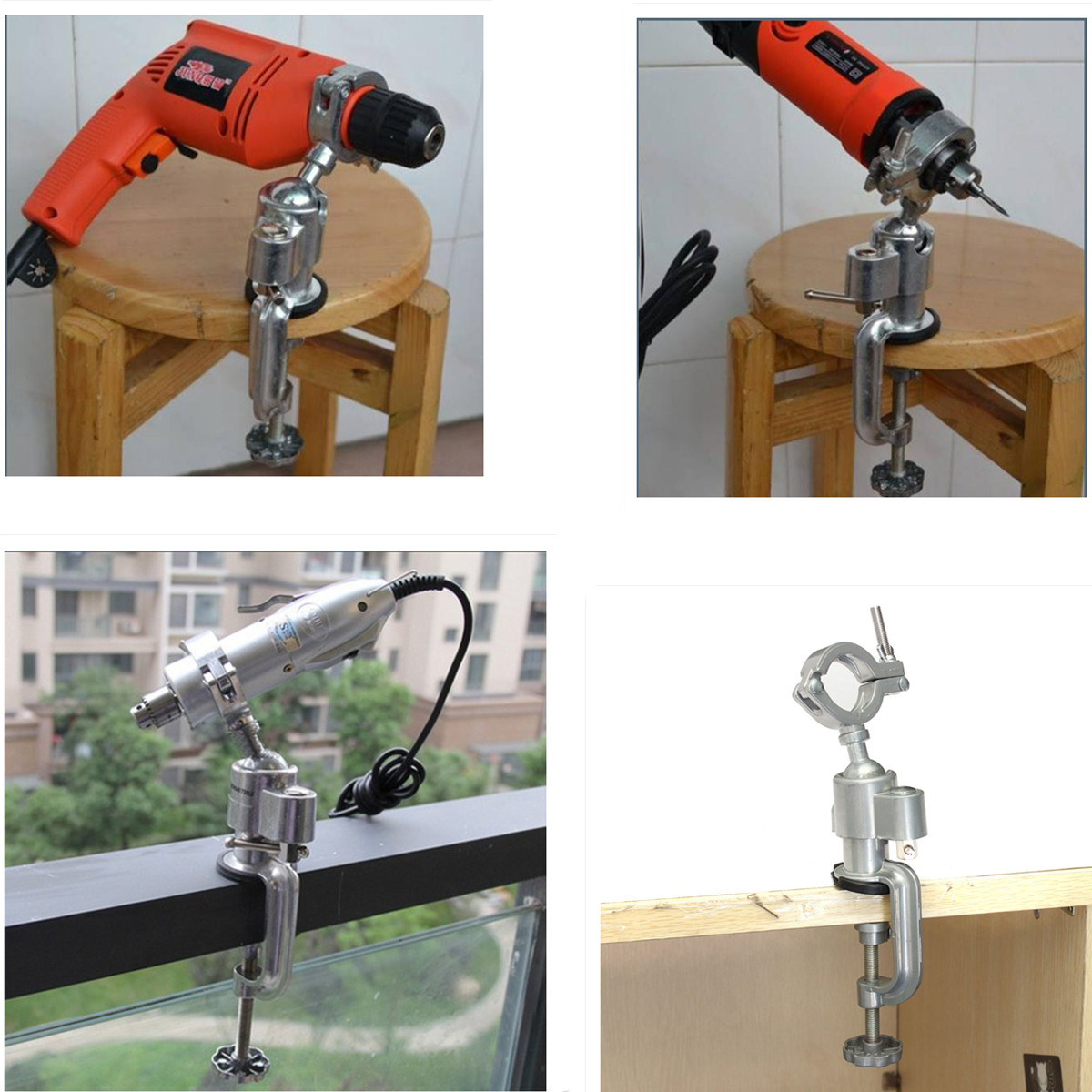 Universal Clamp-on Bench Vises Grinder Accessory Electric Drill Stand Holder Electric Drill Rack Multifunctional Bracket Used