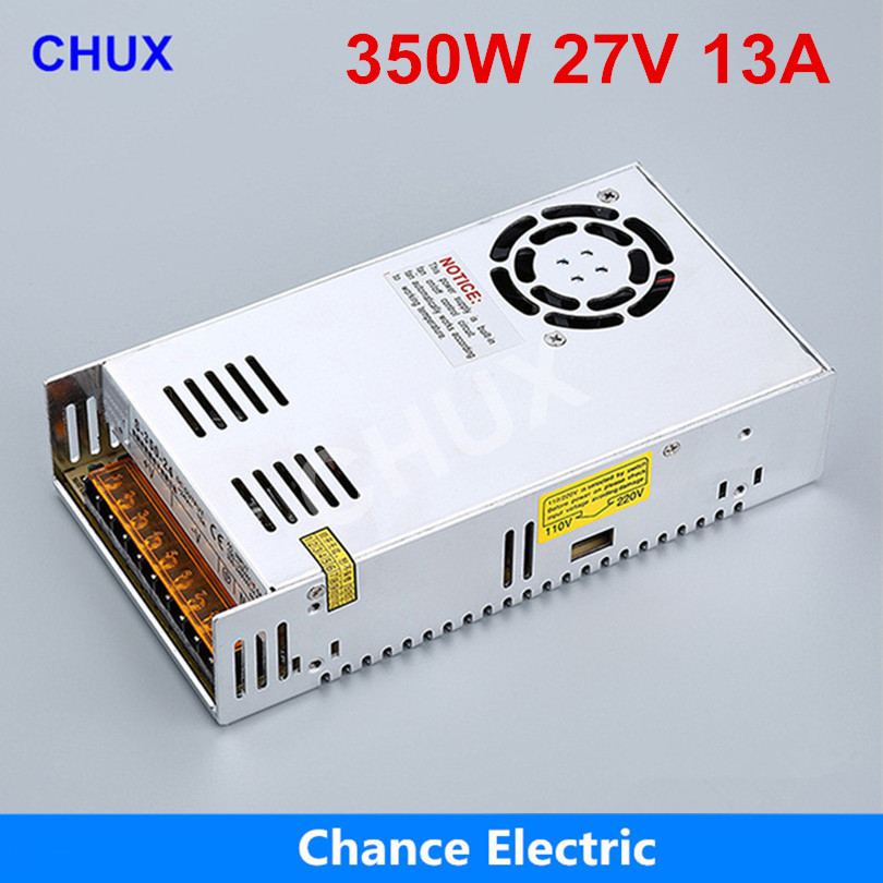 цена на 350W 27V Switching power supply 13A Single Output 220V Input S-350W-27V With Fan Regulate AC to DC Led Switch Power