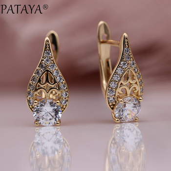 PATAYA New Flame Water Drop Hollow Earring 585 Rose Gold Round Natural Zircon Earrings Women Wedding.jpg 350x350 - PATAYA New Flame Water Drop Hollow Earring 585 Rose Gold Round Natural Zircon Earrings Women Wedding Fine Cute Fashion Jewelry