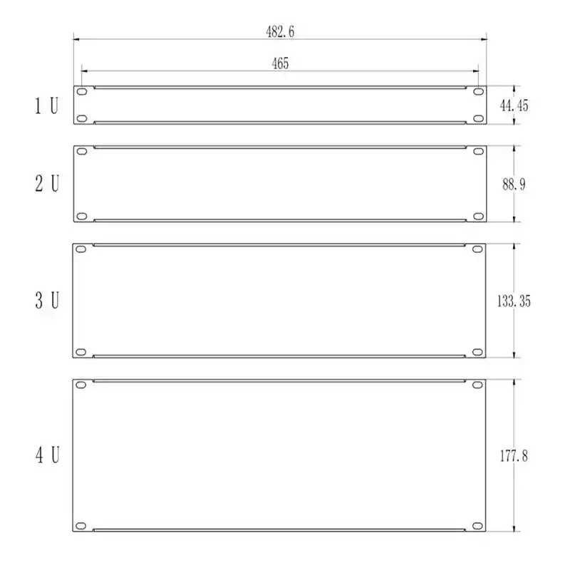 """5 pièces Plaque Vierge 1U pour 19 """"armoire rack support de tableau de montage d'obturation pour servir cas 1.6mm d'épaisseur avec vis 2U 3U 4U"""