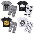 Baby Boys Clothes Cotton Toddler Costume Animal Print t-Shirt+Pants 2pc Baby Girls Clothing Sets 2017 Summer Baby Kids Clothes