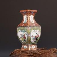 Jingdezhen Antique Ceramic Vase Qianlong year mark enamel golden square vase antique porcelain ancient porcelain collection
