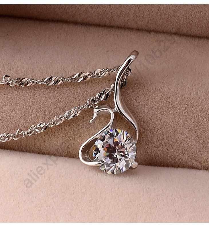 Романтический дизайн птица кулон ожерелье для женщин 925 серлинг серебро Блестящий CZ для женщин модные ювелирные изделия Бесплатная доставка