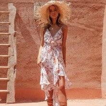 b2326d9d0 Vestido Boho largo 2019 impresión Floral Sexy V-cuello Hippie vestidos de  verano Chic playa vestido de las mujeres de la correa .
