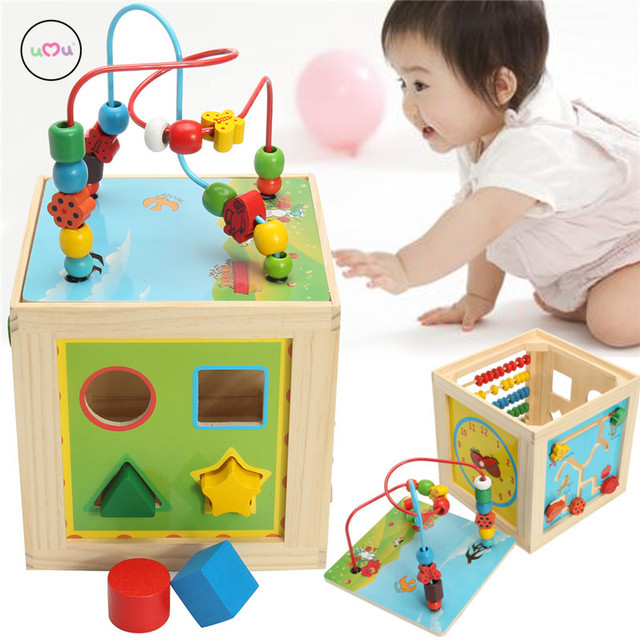 Us 2828 5 In 1 Kids Multi Function Colourful Wooden Activity Cube Toys Puzzle Bead Maze Toy For Children In Blocks From Toys Hobbies On
