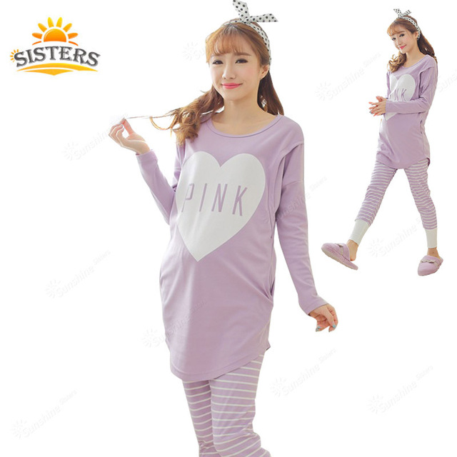 Quality Cotton Maternity Sleepwear For Pregnant Women Pajamas Nursing Breast Feeding Nightgown Clothes Long Sleeve Plus Big Size