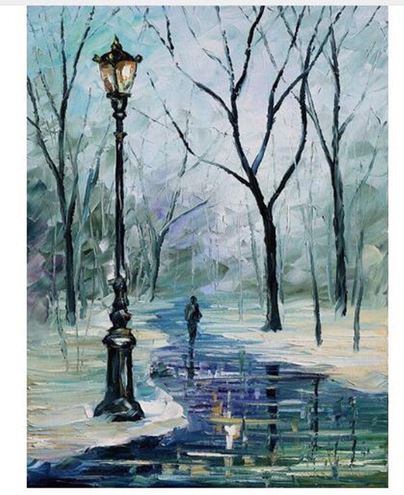 Peint à la main scène de rue peinture à l'huile sur toile acrylique hiver paysage peintures Palette couteau abstrait décor mur Art photo