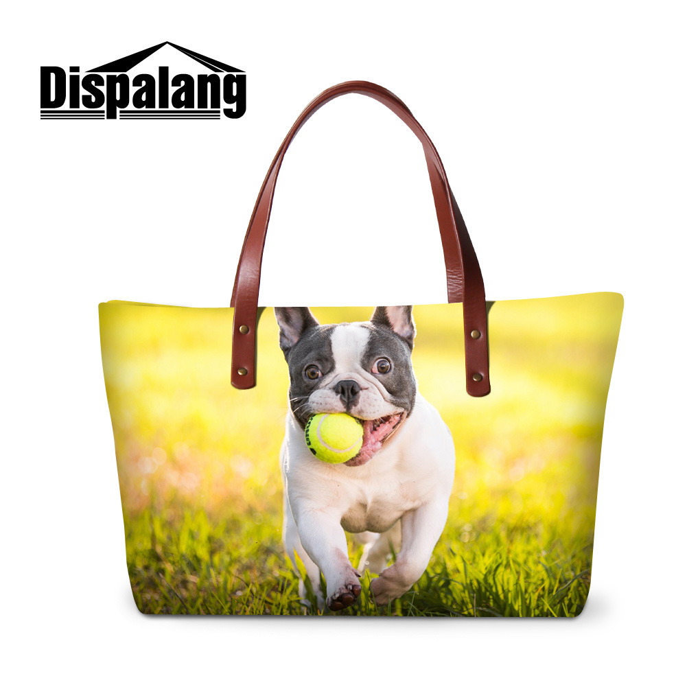 Dispalang 3D bulldog dog print handbags for women ladies stylish party totes bag girls summer beach bags custom design hand bag