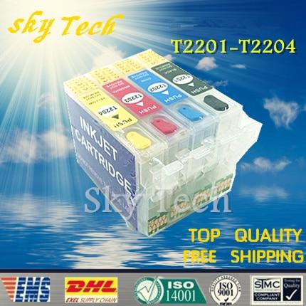 220 series Empty Refillable cartridges For T2201 - T2204 suit for WF-2630 WF-2650 WF-2660 XP-320 XP-420 XP-424 ,with Chips t16 16xl refillable ink cartridge with arc chip for epson wf 2530 wf 2010 wf 2510 2540 wf 2630 wf 2650 wf 2750 wf 2660 printer