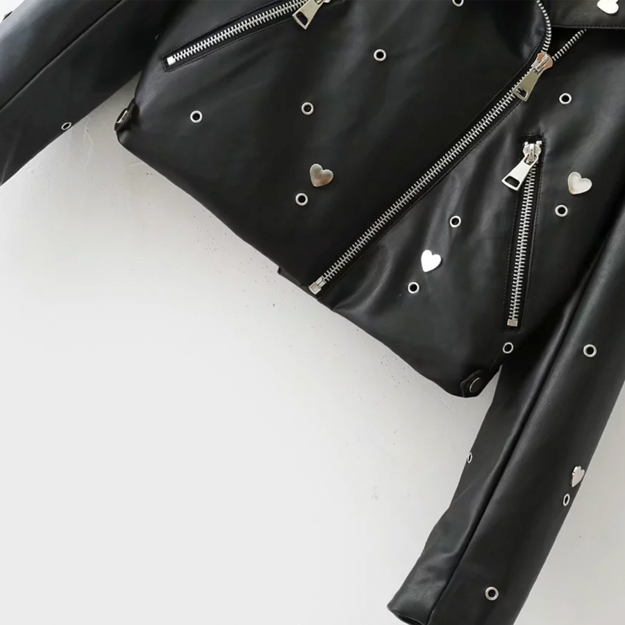 bordado Chaqueta mujer de de de manga Otoño cuero 2017 abrigo para W4r8f4Hqc