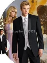 2016 Men Suits Handsome Black Groom Tuxedos Best Man Suits Groomsmen Men Wedding Suits (Jacket+Pants+Vest+Tie)Free Shipping