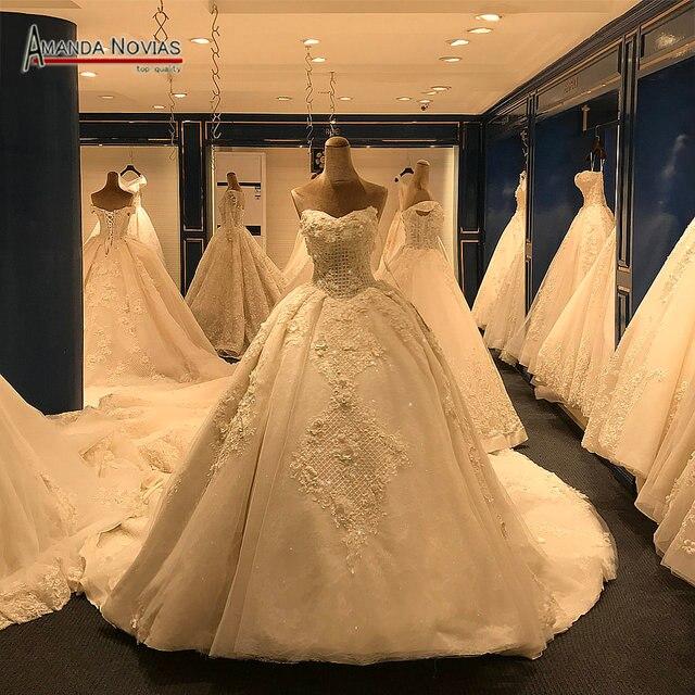 2019 New Arrival Big Trail Sweetheart Unique Lace Wedding Dress Amanda Novias Real Pictures
