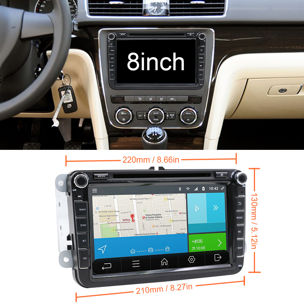 Image 3 - Eunavi 8'' 2 din Android 9 car dvd radio for VW Volkswagen Polo Jetta passat b6 b7 cc fabia skoda Touran golf 6 Tiguan GPS Navi-in Car Multimedia Player from Automobiles & Motorcycles