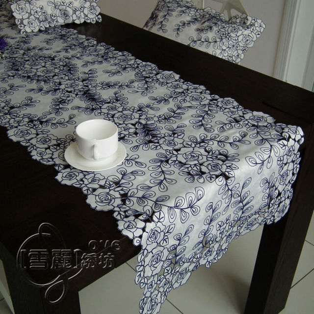 Us 45 39 Rustic Cloth Embroidery Fashion Dining Table Cloth Coffee Table Runner Table Mat Cutout Cover Towel Blue Rose In Tablecloths From Home