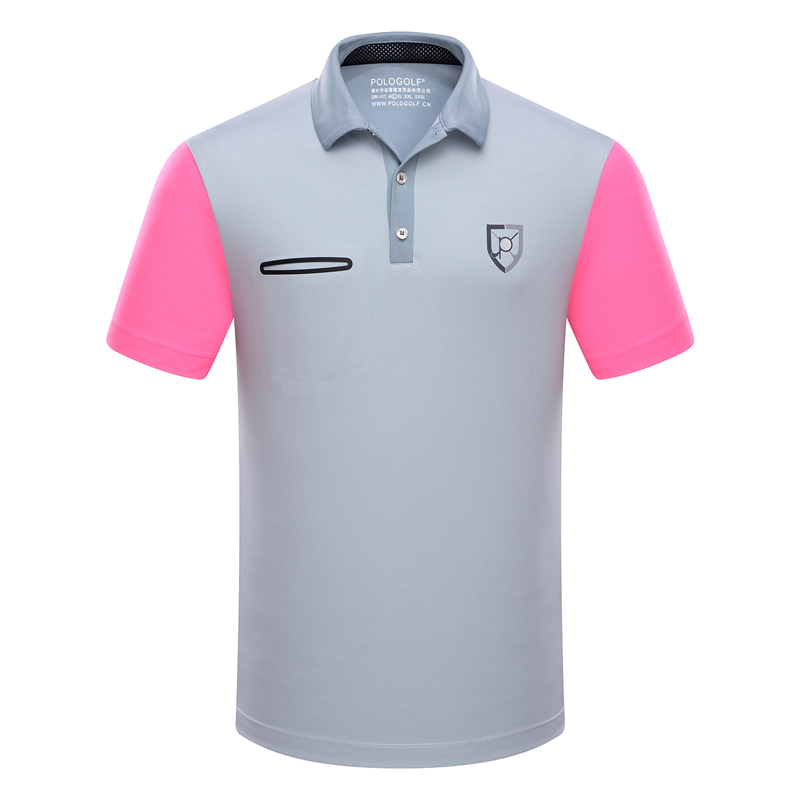 672215844 Branded Polo Golf sports men shirts summer thin short sleeve splice  breathble quick dry golf t shirt for men gray blue pink XL