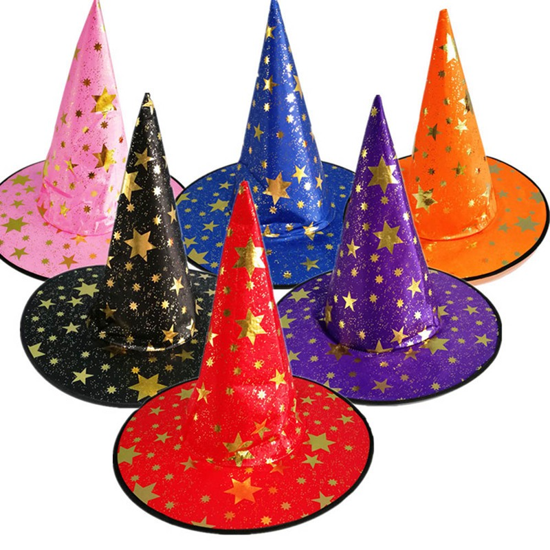Mesh Witch Hat Halloween Rose Red Pink Party White Red Five Stars Dress Up Wizard Hat Blue Purple