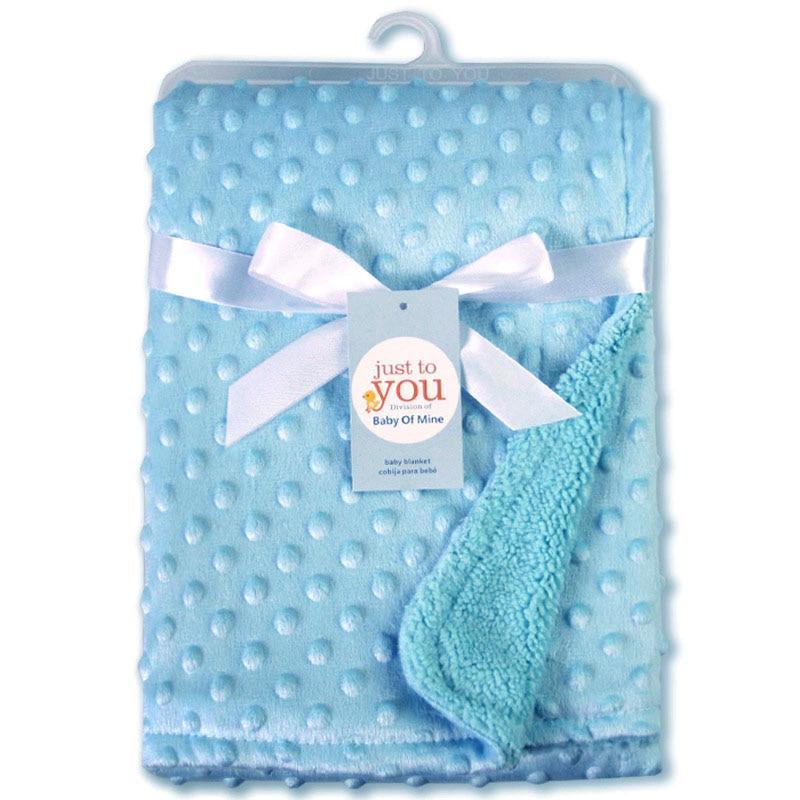 Детское одеяло и пеленание для новорожденных, теплое мягкое Флисовое одеяло, набор однотонных постельных принадлежностей, Хлопковое одеяло - Цвет: Синий