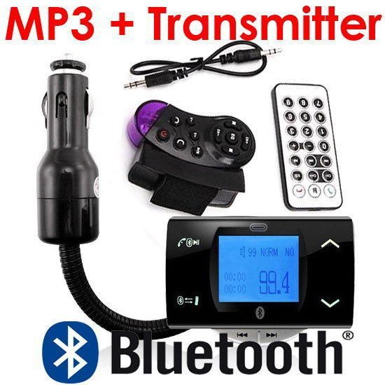 Bluetooth Car Kit MP3 Player FM Transmitter Modulator + Remote Control USB/SD/MMC Support Free Shipping + Drop Shipping