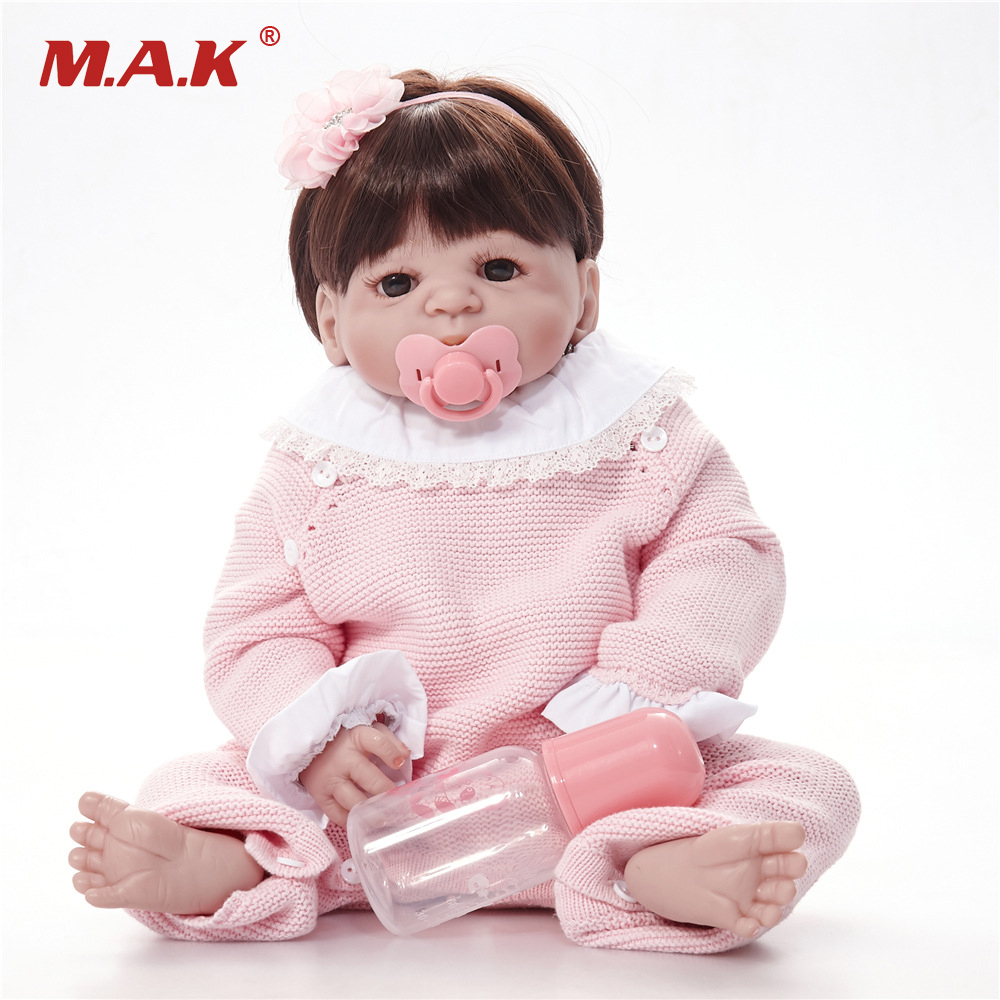 55cm Silicone Reborn Girl Baby Doll Toys 22inch Newborn Princess Toddler Babies Dolls Bathe Toy Play House Toy Doll handmade chinese ancient doll tang beauty princess pingyang 1 6 bjd dolls 12 jointed doll toy for girl christmas gift brinquedo